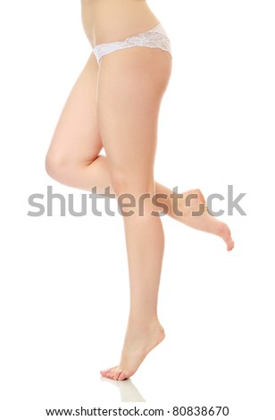 A female legs isolated on white background