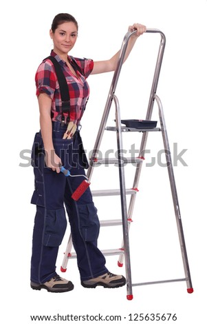 A female painter. - stock photo