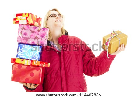 A female person throwing a colorful gift