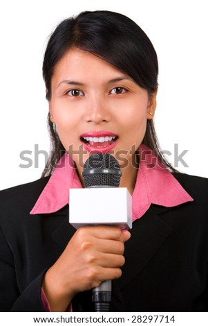 A female reporter in live broadcasting - stock photo