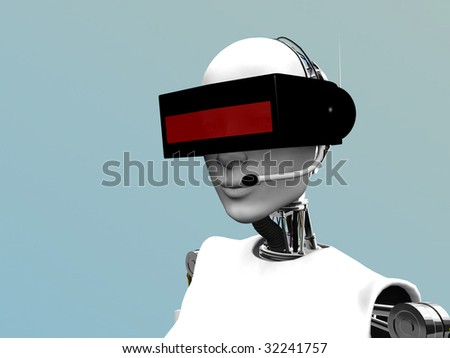 A female robot wearing a futuristic headset.