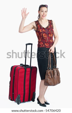 A female traveler waving/greeting on a white background - stock photo