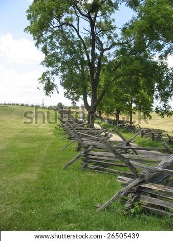 A fence line through Antietam - stock photo