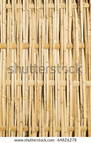 A fence panel worven from fresh cut sections of bamboo - stock photo
