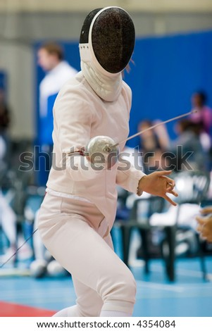 a fencer in a stance