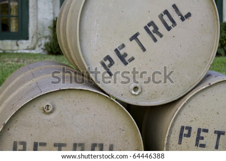 a few barrels of war time petroleum - stock photo