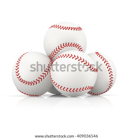 A few baseball balls stacked at pyramid. 3D illustration.