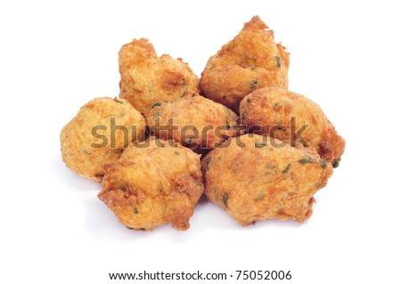 a few cod fritters on a white background - stock photo