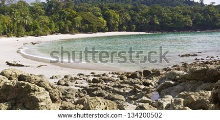 A few morning bathers on rainforest-lined Playa Manuel Antonio in Manuel Antonio National Park, Costa Rica (Panorama) - stock photo
