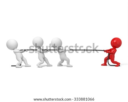 A few of 3d people are playing the tug of war - stock photo