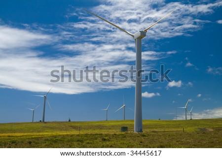 A field of wind turbines on Hawaii's Big Island - stock photo