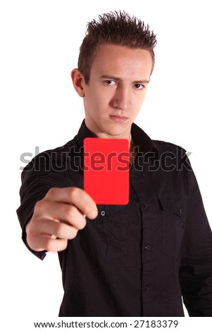 A fierce teenager showing someone the red card. All isolated on white background. - stock photo