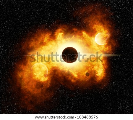 A fiery nebula in outer space (Illustration) - stock photo