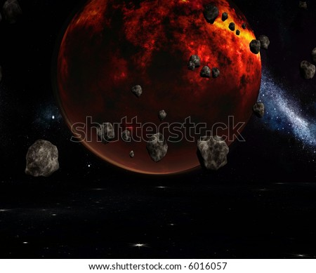 A fiery planet surrounded by asteroids.