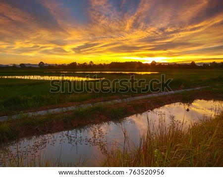 A fiery sunset over the rice fields of rural east Thailand. Irrigation canal in the foreground reflect the light.