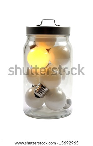 A figurative picture of light bulbs in a glass pot. One bright burning bulb with dull lamps. One bright mind in a crowd.