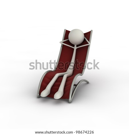 a figure is chilling on a sunlounger - stock photo