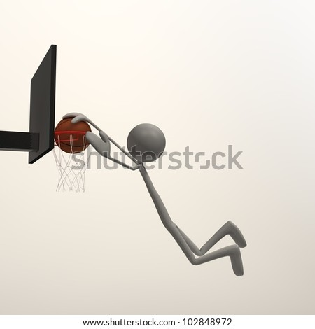 a figure is doing a slam dunk - stock photo