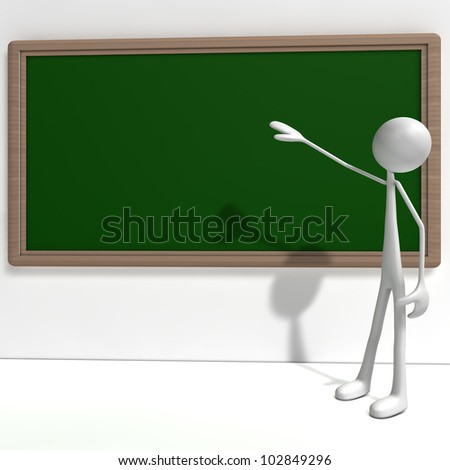 a figure is standing in front of a green black board - front view - stock photo