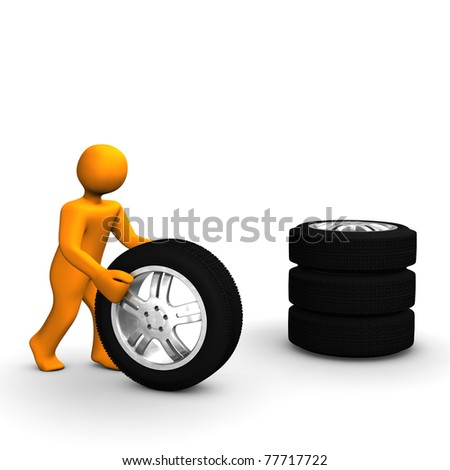 A figure of a man with a stack of tires.
