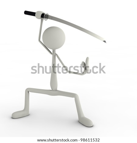 a figure posing with its Katana ninja style - stock photo
