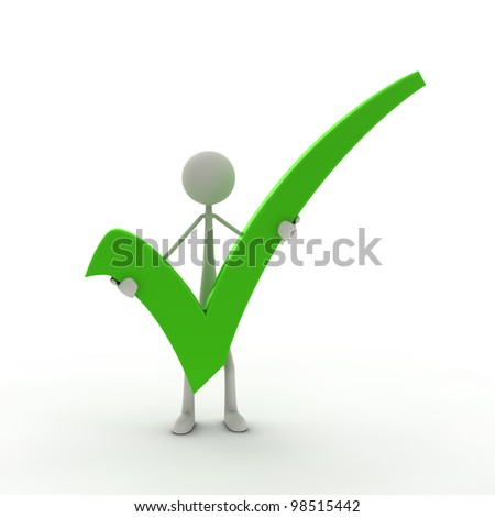 a figure with a check mark - green - stock photo