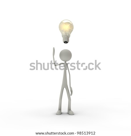 a figure with an electric bulb - metaphor for an idea - stock photo