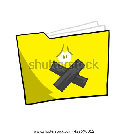 A file being gagged, held captive by ransomware, malware - stock photo