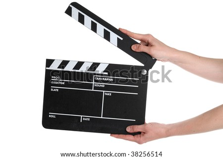 A Film Slate isolated on a white background - stock photo