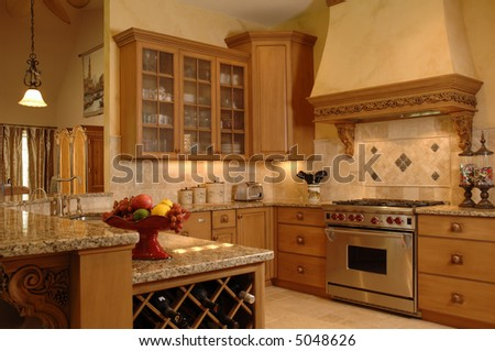 a fine kitchen is ready of cooking - stock photo