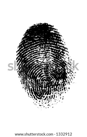 A finger print on a white background - stock photo