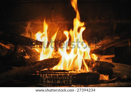 A fire burns in a fireplace