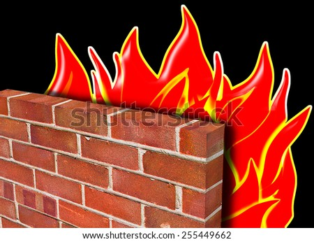 A firewall, depicted in red brick holding back a fire on a black background to demonstrate computer security. - stock photo