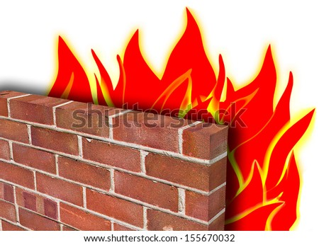 A firewall, depicted in red brick holding back a fire to demonstrate computer security. - stock photo