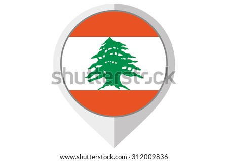 A Flag Illustration inside a pointed of the country of Lebanon