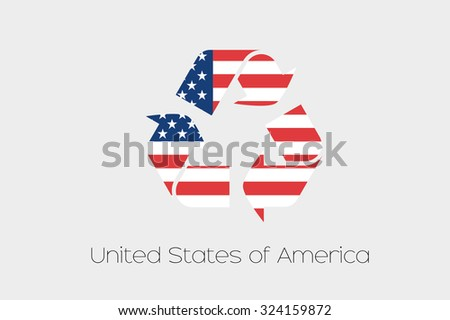 A Flag Illustration inside a Recycling Icon of the country of United States of America