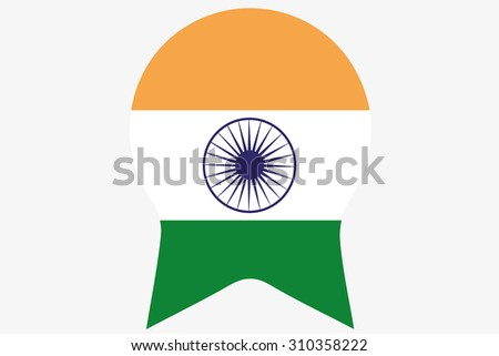 A Flag Illustration inside a Rosette of the country of India