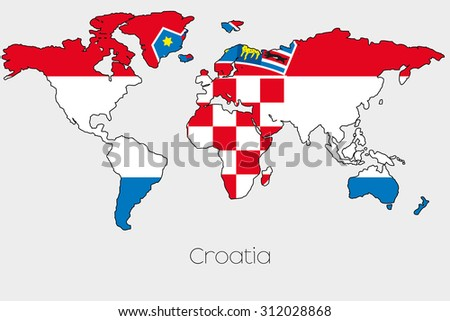 Flag illustration inside shape world map stock illustration a flag illustration inside the shape of a world map of the country of croatia gumiabroncs Images