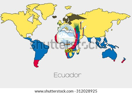 Flag illustration inside shape world map stock illustration a flag illustration inside the shape of a world map of the country of ecuador gumiabroncs Choice Image
