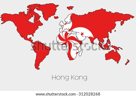 a flag illustration inside the shape of a world map of the country of hong kong