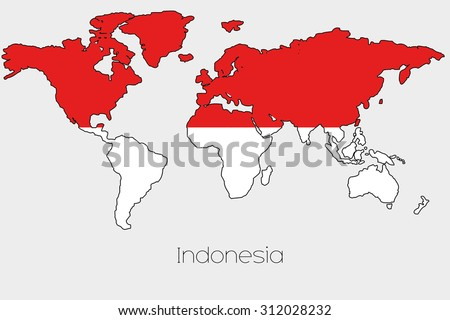 Flag illustration inside shape world map stock illustration a flag illustration inside the shape of a world map of the country of indonesia gumiabroncs Images