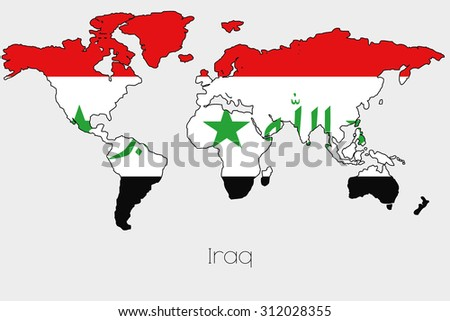 Flag illustration inside shape world map stock illustration a flag illustration inside the shape of a world map of the country of iraq gumiabroncs Choice Image