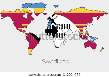 A Flag Illustration inside the shape of a world map of the country of  Swaziland - stock photo