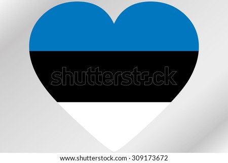 A Flag Illustration of a heart with the flag of  Estonia - stock photo
