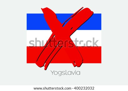 A Flag Illustration with a Cross through it of Yugoslavia - stock photo