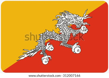 A Flag Illustration with rounded corners of the country of Bhutan
