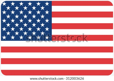 A Flag Illustration with rounded corners of the country of United States of America