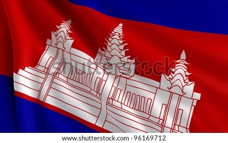 A flag of Cambodia in the wind - stock photo