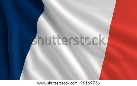 A flag of France in the wind