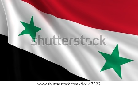 A flag of Syria in the wind - stock photo